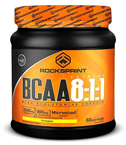 ROCKSPRINT | BCAA EN POLVO | Fórmula Reforzada | BCAA 8:1:1 Extreme | 300g Piña