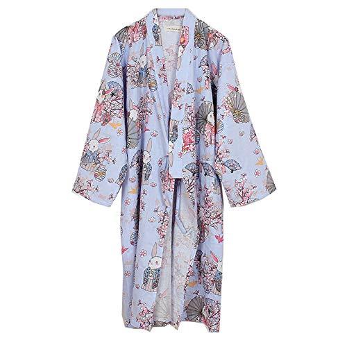 Kimono de la mujer Robe Yukata Albornoz Pijamas Púrpura Rezar Conejos