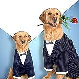 Evursua Large Dogs Tuxedo Party Wedding Suit Tails Formal Clothes for Big Size Dog Golden Retriever, Samoyed, German Shepherd Doberman Pinscher (7XL(Bust 33-35'))