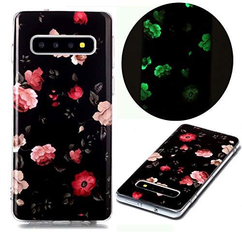 Nadoli Hülle Leuchtend für Samsung Galaxy S10 Plus,Rose Blumen Muster Fluoreszierend Licht im Dunkeln Weich Dünn Gummi Handytasche Stoßfest Flexibel Schutzhülle Etui