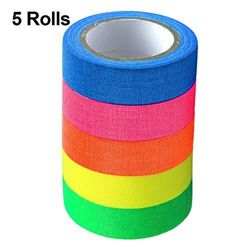 5 Rollen Neon Tape Klebebänder, UV Schwarzlicht Reflektierend Bänder Gewebeband Neon Gaffa Tape Fluoreszierendes Leuchtband für Handwerk Partydeko Weihnachtsdeko - 5 Farben, 12.7mm*5m Pro Farbe
