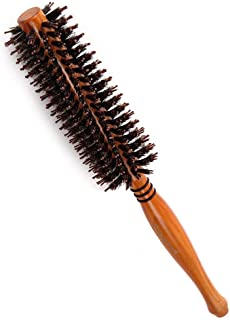 天然ロールブラシ 豚毛 耐熱仕様 ブロー カール 巻き髪 ヘア ブラシ ロール (S, 写真の色)