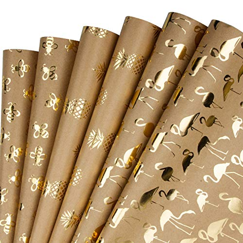 RUSPEPA Kraftpapierpapier Blatt - Folie Gold Ananas/Flamingo/Biene Design Ideal Für Glückwünsche, Feiertage Und Besondere Anlässe - 6 Blatt Als 1 Rolle Verpackt - 44,5 X 76 cm Pro Blatt