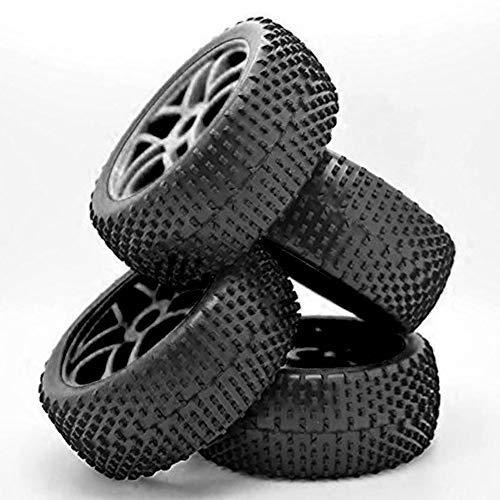 Almabner RC Buggy-Reifen, Maßstab 1:8, 4 Stück, 17 mm Nabe, Gummi, Vollrad, Reifen, hohl, schwarz, Offroad-Autoreifen