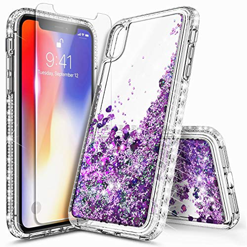 iPhone Xs Max Case with Tempered Glass Screen Protector, NageBee Glitter Bling Liquid Quicksand Waterfall Floating Sparkle Diamond Women Girls Durable Cute Case for iPhone Xs MAX 6.5 inch -Purple