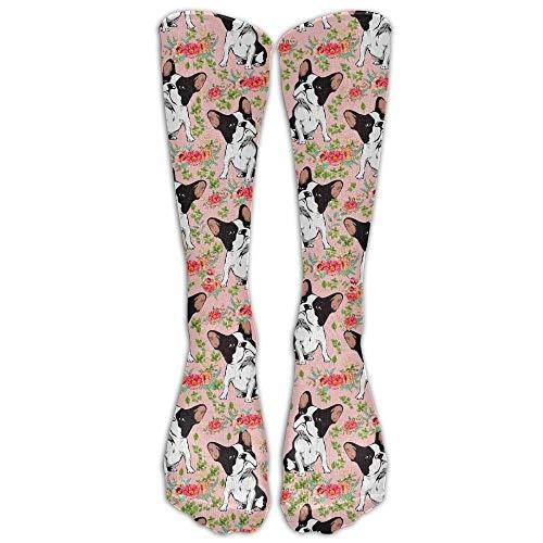 UYTGYUHIOJ Bulldog and Rose Compression Socks Soccer Socks High Socks Long Socks...
