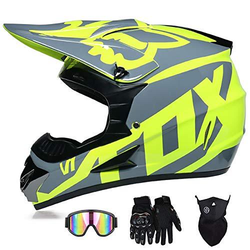 Casco Integral De Motocross, Diseño De Patrón FOX Amarillo Fluorescente Conjunto De Casco Anticolisión Para Adultos Extraíble Y Lavable Con Gafas Protección Facial Guantes Certificación DOT / ECE