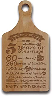 Bella Busta-5th Anniversary Cheese Board-5 Years,Months,Week,Days,Hours, Minutes, Seconds-Engraved Wood Cheese Board - traditional Wood 5th anniversary gifts (5th Anniversary (Maple))