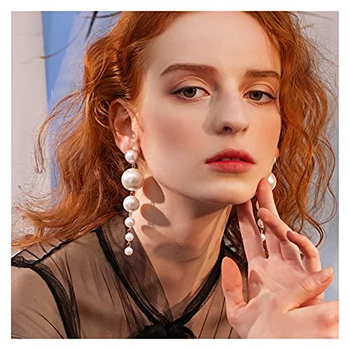 baidicheng Pendientes de mujer de moda elegantes grandes perlas de imitación largos pendientes de perlas de cadena de declaración de gota para mujeres regalo de boda fiesta