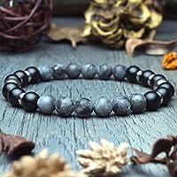Bracelet Homme Taille 19-20cm perles Ø8mm en pierre naturelle Larvikite Labradorite Gris Mat Agate/Onyx Anneaux Acier...