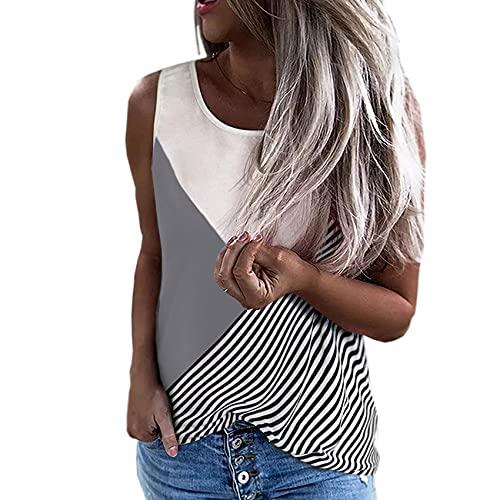 Wsgyj52hua 2021 Verano Europeo Y Americano Cuello Redondo Estampado A Rayas Camiseta Suelta Sin Mangas para Mujer