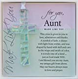 Handmade in USA Clear Glass Cross with Sentiment - Gift For Aunt From Niece/Nephew