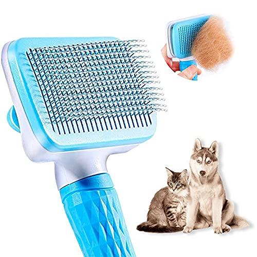 Genérico Cepillo Perros y Gatos - Quitar el Exceso de Pelo de Mascotas - Peine para Mascotas con Protección de Goma - Cuidado de la Piel Animal