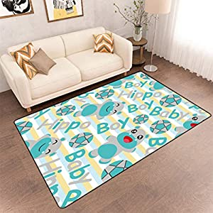 Animal Baby Floor Mats, Adorable Hippo Baby Kids Room Nursery Decorations Area Rug with Non-Skid Rubber Back, 6'6″ x 10′