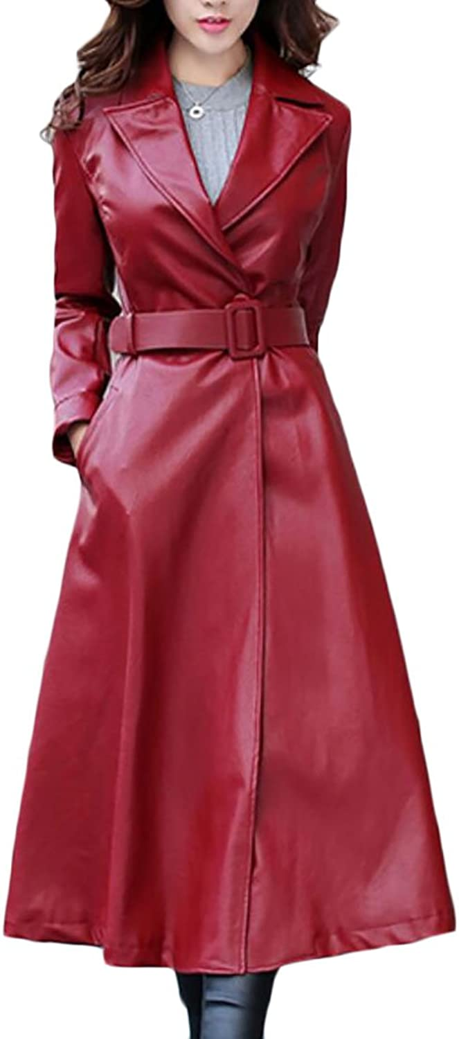GAGA Women's Faux Leather Lapel Slim Fit Long Jacket Swing Trench Coat Belt