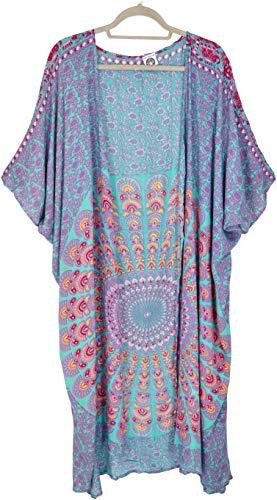 Guru-Shop Leichter Sommer Kimono, Umhang, Strandkleid mit Mandala Muster, Damen, Türkis/pink, Synthetisch, Size:44, Blusen & Tunikas Alternative Bekleidung