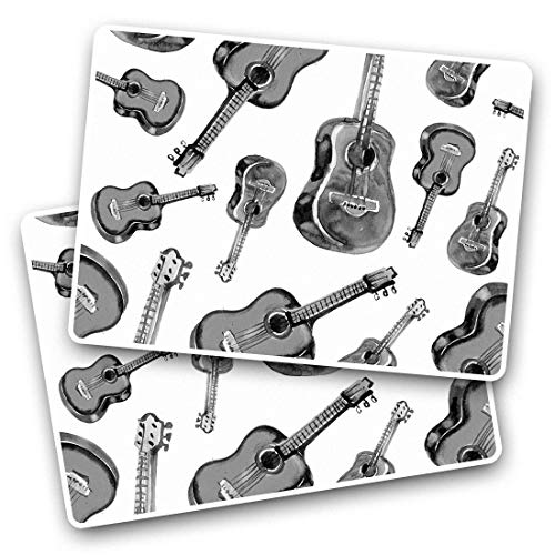 Awesome Rectangle Stickers(Set of 2) 7.5cm - Guitar Pattern Music Instrument Band Fun Decals for Laptops,Tablets,Luggage,Scrap Booking,Fridges,Cool Gift #45265