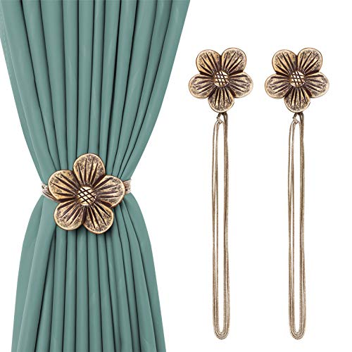 2 Pack Magnetic Curtain Tieback, KENOBEE Resin Flower Curtain Draperies Holdback, Vintage Window Drapery Decorative Buckle Holder with Rope for Home Office Balcony, Plum Blossom Coffe