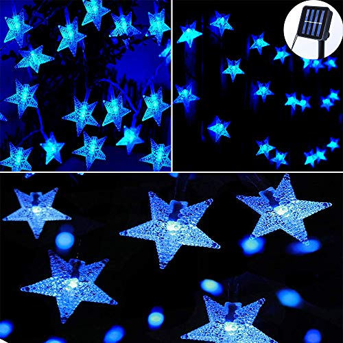 Darknessbreak Blue Star Fairy Lights Solar String,35ft 50 LED Outdoor Solar Christmas String Lights for Outdoor Decorations,Wedding Party,Backyard,Patio,Lawn,Christmas Tree,Porch Decor.