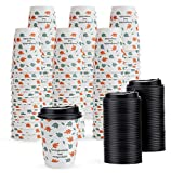 Yesland 80 Pack Paper Coffee Cups - 12 Oz Paper Hot Cup with Lid - Disposable Beverage Cups for Water, Juice, Coffee or Tea in Shops, Kiosks & Concession Stands
