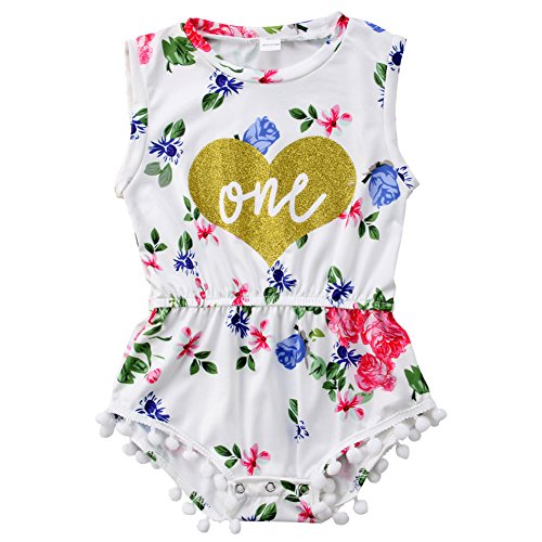 ONE'S New Baby Girls Summer Floral First Birthday Bodysuit Romper Outfits (12-18 Months, White 2)