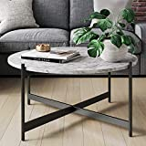 Nathan James Piper Faux Marble Round Modern Living Room Coffee Table with Metal Frame, Black