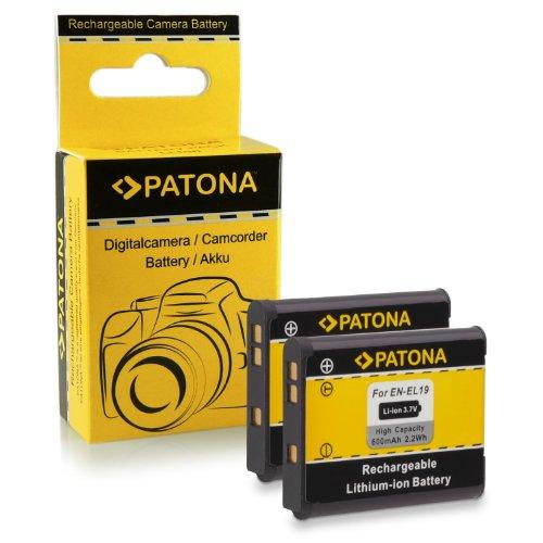 PATONA 2X Bateria EN-EL19 Compatible con Nikon Coolpix S100 S2500 S3100 S3500 S4100 S6500