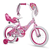 Huffy Disney Princess Girls' EZ Build Bike with Training Wheels & Carriage, Pink, 16-inch