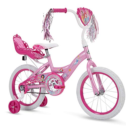 Huffy Disney Princess Girls' EZ Build Bike with Training Wheels & Carriage, Pink, 16-inch