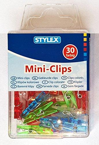 STYLEX® Mini-Clips / Miniklammern in Transparentbox - Memoklammer 25 mm - 30-er Box - Farbig sortiert - Kunststoff (Klammern Vielzweckklammern Dekoklammern Zierklammern)