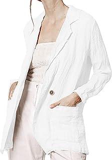 Trends für Dich Damen Leinen Jacke Mantel Open front Langarm