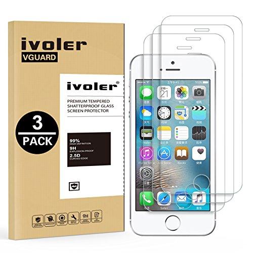 iVoler [3 Pack] Pellicola Vetro Temperato per iPhone SE 2016 / 5S / 5 / 5C, Pellicola Protettiva, Protezione per Schermo