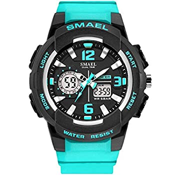 SMAEL Women s Sport Wrist Watch Quartz Dual Movement with Analog-Digital Display Watches for Women  Turquoise