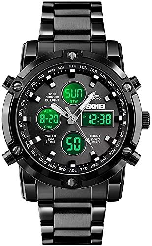 QHG Reloj de Pulsera para Hombre, Relojes Digitales analógicos Militares Impermeables con DIRIGIÓ Cronógrafo Multi-Tiempo, Relojes de Negocios de Acero Inoxidable para Hombres (Color : Black)