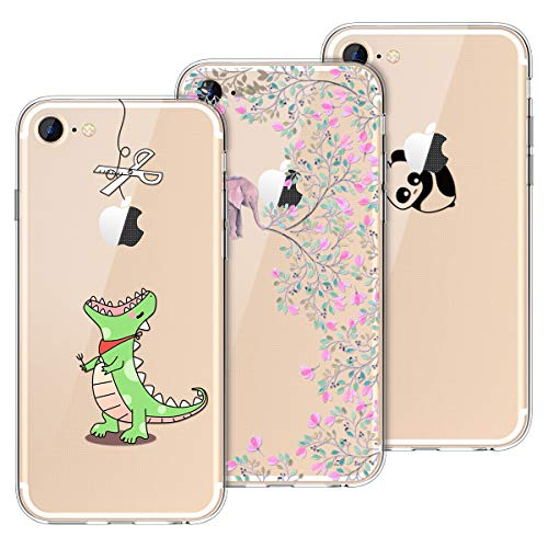 Yokata [3 Pack Cover per iPhone 7 Cover iPhone 8 Custodia Silicone Trasparenti con Disegni Case Caso Gomma TPU Morbido Ultra Slim Antiurto Protettiva Cover - Greedy Dragon + Panda + Elephant