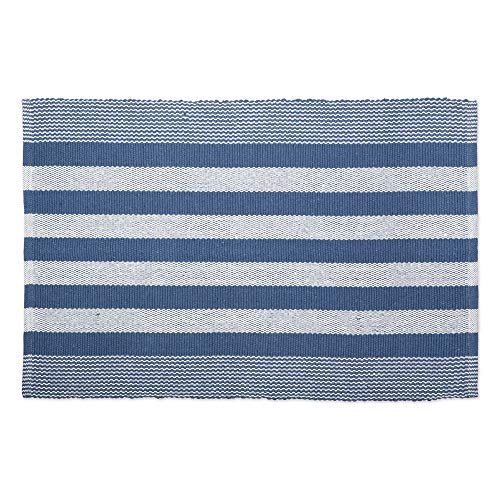 DII Contemporary Reversible Machine Washable Recycled Yarn Area Rug for Bedroom, Living Room, and Kitchen, 2x3, Cabana Stripe French Blue
