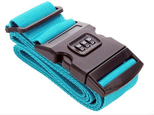 2 Stück Koffergurte Koffergurt Gepäckgurt Gepäckgurte Gepäckband Kofferriemen Kofferband Reise Zahlenschloss (Blau)