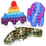 i-FSK Among in Us Pop on It, Starfighter and Pistol, Push Pop Fidget Toys, Bubble Popping Fidget 3 Pack, Squeeze Silicone Toy, Anxiety Stress Relief for Autism ADD ADHD