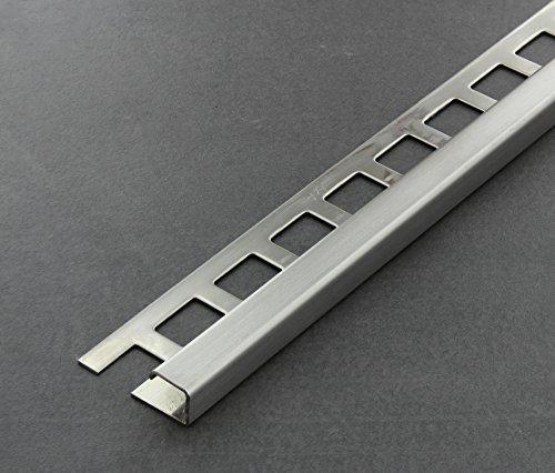 Fliesenschiene, Fliesenprofil, Quadratprofil, Edelstahl (V2A) gebürstet, Länge 2,50 m 10 mm Höhe 5 Stück Setpreis