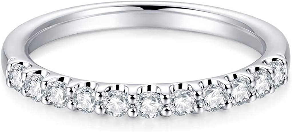 2mm 11 Stone Cubic Zirconia CZ Rings safety Band Wedding Scalloped Gifts PavÃ