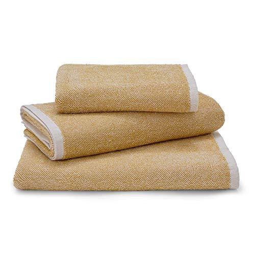 URBANARA Handtuch Ventosa - 100% Reine Bio-Baumwolle, meliert, Frottee, 420 GSM – Frottee-Tuch, Frottee-Handtuch, Gästetuch, Handtücher (50 x 100 cm, Senfgelb/Weiß)