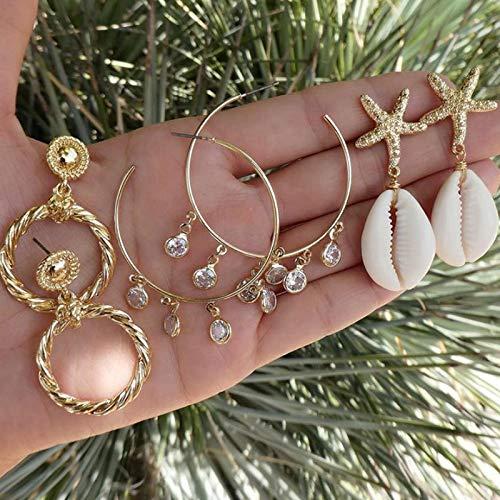 FEARRIN Pendientes Anillos de Oreja Gold Beach Shell Starfish Love Heart Pearl Pendientes Colgantes para Mujeres Joyería étnica Boho Drop Earring Set 8975