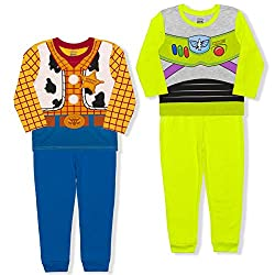GET 4 KIDS CLOTHES: Level up pretend play or birthday party with Toy Story toddler clothes for boys pack; Includes 2 cute long sleeve Disney shirts and 2 baby boy pants; For a single purchase you'll have Woody and Buzz Lightyear dress up clothes for ...
