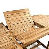 DIVERO Großer ovaler ausziehbarer Gartentisch Esstisch Balkontisch Holz Teak Tisch für Terrasse Balkon Wintergarten - 7