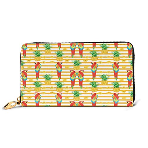 Women's Long Leather Card Holder Purse Zipper Buckle Elegant Clutch Wallet, Vertical Vivid Stripes with Pineapples and Flowers Birds Summer Season Inspired,Sleek and Slim Travel Purse