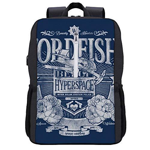 Swordfish II Cowboy Bebop Rucksack Daypack Bookbag Laptop Schultasche mit USB-Ladeanschluss