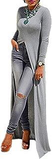 Sexy Open Front Split Long Sleeve Short Sleeve Party Maxi Dress Tunic Shirt Tops