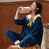 Conjunto de Pijamas de algodón de Manga Larga, Ropa de Dormir de Estilo Princesa, Ropa de Dormir de Primavera para Mujer, Ropa Informal para el hogar, Conjunto de Pijamas Suaves y cómodos-2XL_70-80KG