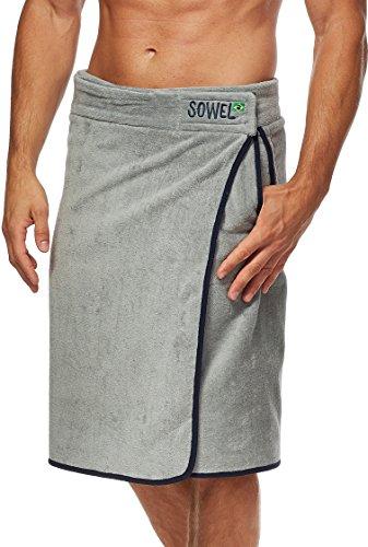 Sowel® Saunakilt Herren, Saunahandtuch mit Klettverschluss, Saunatuch aus 100% Baumwolle, 60 x 140 cm, Grau/Navy