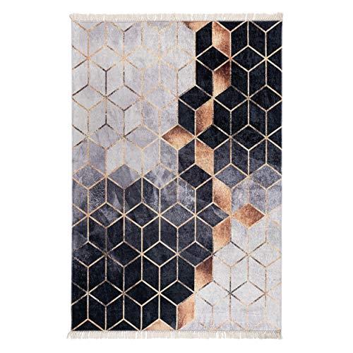 mynes Home Waschbarer Teppich schwarz grau Gold Modern Abstraktes Muster rutschhemmend NEU 5400 (160x230cm)